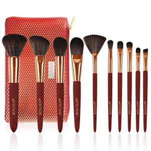 Makeup Brush Set, Premium Synthetic Fiber Make Up Brush Kit Powder Foundation Blending Eyeliner Face Cosmetics Concealers Eye Shadows Brushes Tools with PU Leather Travel Makeup Bag (10pcs)