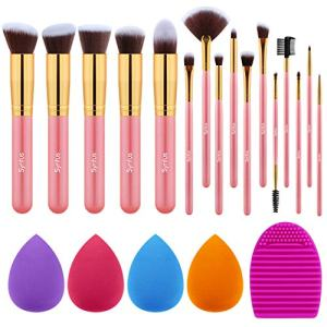 Syntus Makeup Brush Set, 16 Makeup Brushes & 4 Blender Sponges & 1 Brush Cleaner Premium Synthetic Foundation Powder Kabuki Blush Concealer Eye Shadow Makeup Brush Kit, Golden Pink