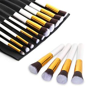 ExeCharge Makeup Brushes Premium Makeup Brush Set Synthetic Kabuki Cosmetics Foundation Blending Blush Eyeliner Face Powder Brush Makeup Brush Kit (10pcs, Golden white)