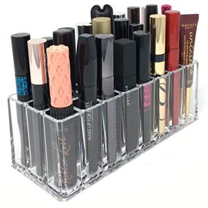 byAlegory Acrylic Eye Mascara Organizer Beauty Makeup Holder | 24 Space Organization Container Storage For Tall Tubes Refillable Container