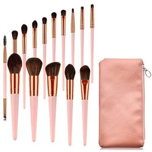 AOLONGLI Makeup Brushes 15 Pcs Professional Makeup Brush Set With Bag Face Cleansing Puff Premium Synthetic Pink Cute brush for Blending Foundation Powder Blush Concealers Eye Shadows