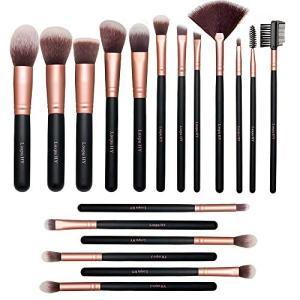 Lospu HY Makeup Brushes 18 Piece Makeup Brush Set Professional Wood Handle Premium Synthetic Kabuki Foundation Blending Face Powder Blush Concealer Contour Eyeshadow Makeup Brush Brochas De Maquillaje