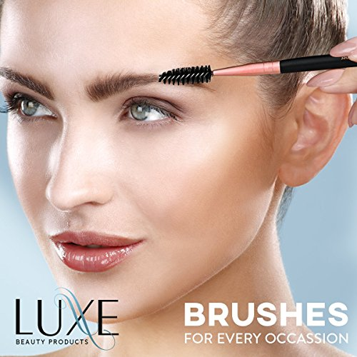 Luxe Premium Makeup Brushes Set with Brush Cleaning Solution Luxe Premium Makeup Brushes Set with Brush Cleaning Solution - 14 Pc Face and Eye, Synthetic Brushes for Foundation, Powder, Blush, and Eyeshadow.