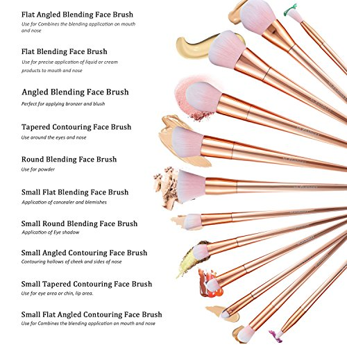 NEXGADGET Makeup Brushes Premium Makeup Brush Kit Synthetic NEXGADGET Makeup Brushes Premium Makeup Brush Kit Synthetic Kabuki Cosmetics Foundation Blending Concealer Blush Eyeliner Face Powder Cream Lip Brush Cosmetics Tool(12pcs, Rose Gold).