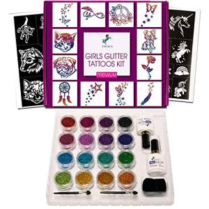 INGALA PREMIUM Glitter Tattoos kit for Girls - 74 Premium Glitter tattoos stencils, 2 X 15ml Premium body glue, 16 X 5g stunning glitters for Girls, teenage and woman (For Girls) Product Name