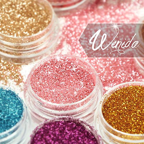 Glitter Wenida 12 Colors Holographic Cosmetic Festival Powder Sequins Craft Glitter Wenida 12 Colors Holographic Cosmetic Festival Powder Sequins Craft Glitter for Arts Face Hair Body Nail.