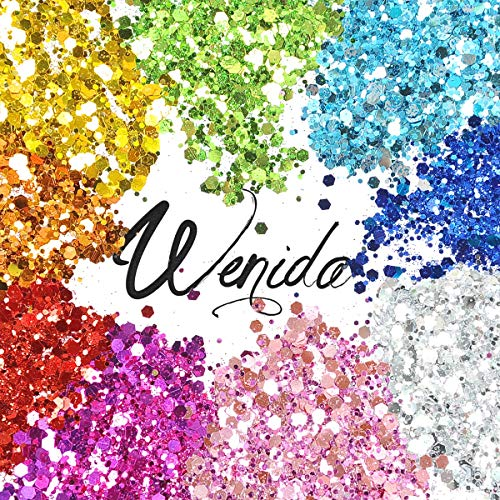 Body Glitter Wenida 9 Colors 190g Holographic Cosmetic Festival Makeup PREMIUM QUALITY : High quality assurance and glitter could be very environmental safety, no air pollution and no harm, protected for utilizing on physique and face