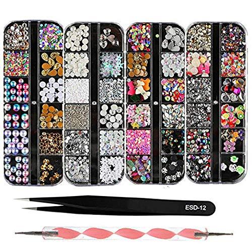 BEINNY 4 Boxes 12 Grids Nail Art Rhinestones + 1 PC Dotting Pen + 1 PC Straight Tweezer Tool Kits Nail Art Rhinestones Studs
