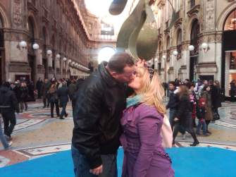 Sharing a Kiss in Milan, Italy