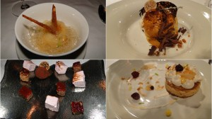 (clockwise) pear sorbet w/ honey foam,  tiramisu, almond semifreddo, almond mousse & phyllo assortment of sweet bites