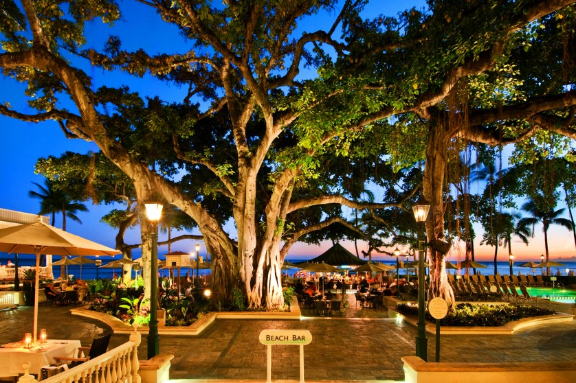 Banyan Courtyard at Sunset Courtesy of Moana Surfrider A Westin Resort & Spa