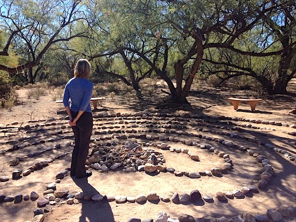 Joan making a final stop at the labyrinth