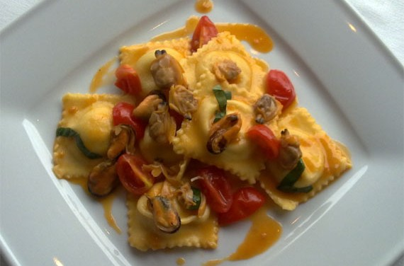 Seabass Ravioli With Stewed Mussels and Clams