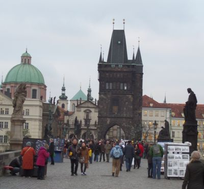 Charles Bridge, Prague, with Old Town Tower. Photo Kissam