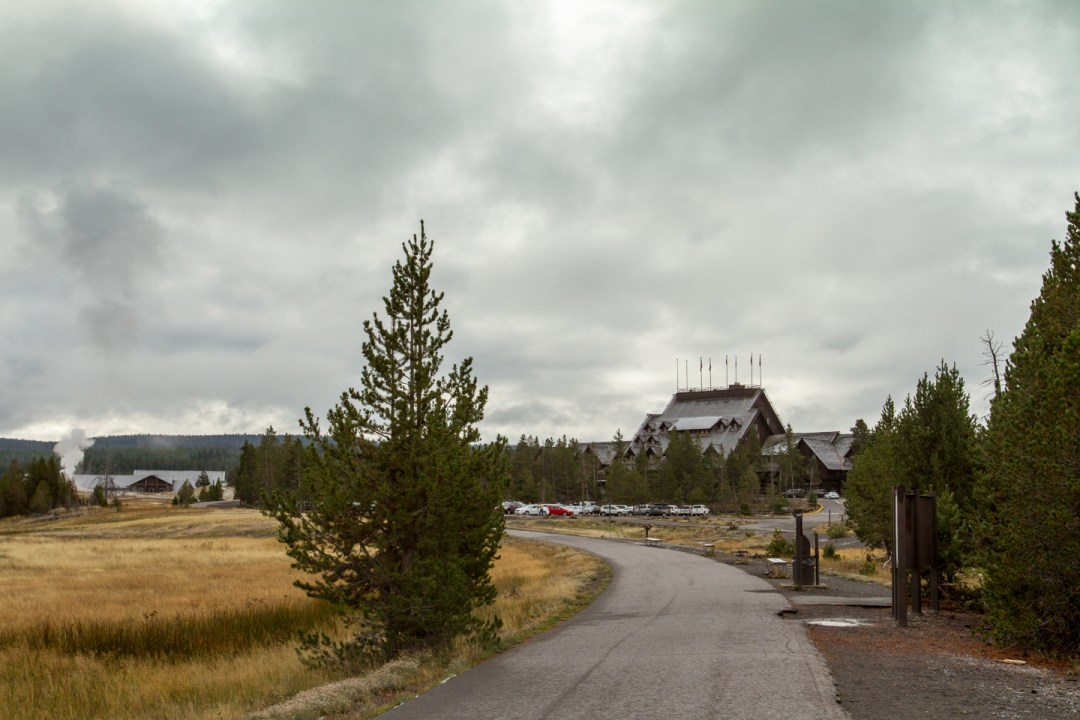 Approaching Old Faithful Inn