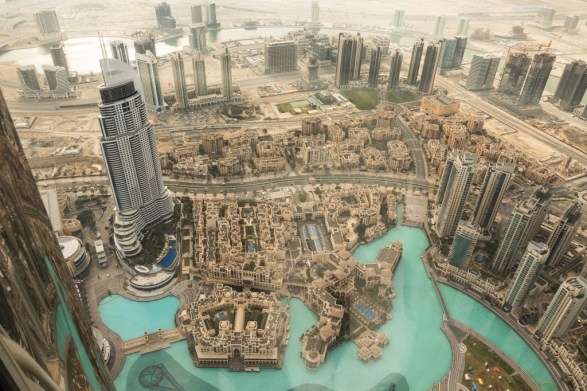"""View """"At the Top"""" down to the Burg Khalifa Fountains"""