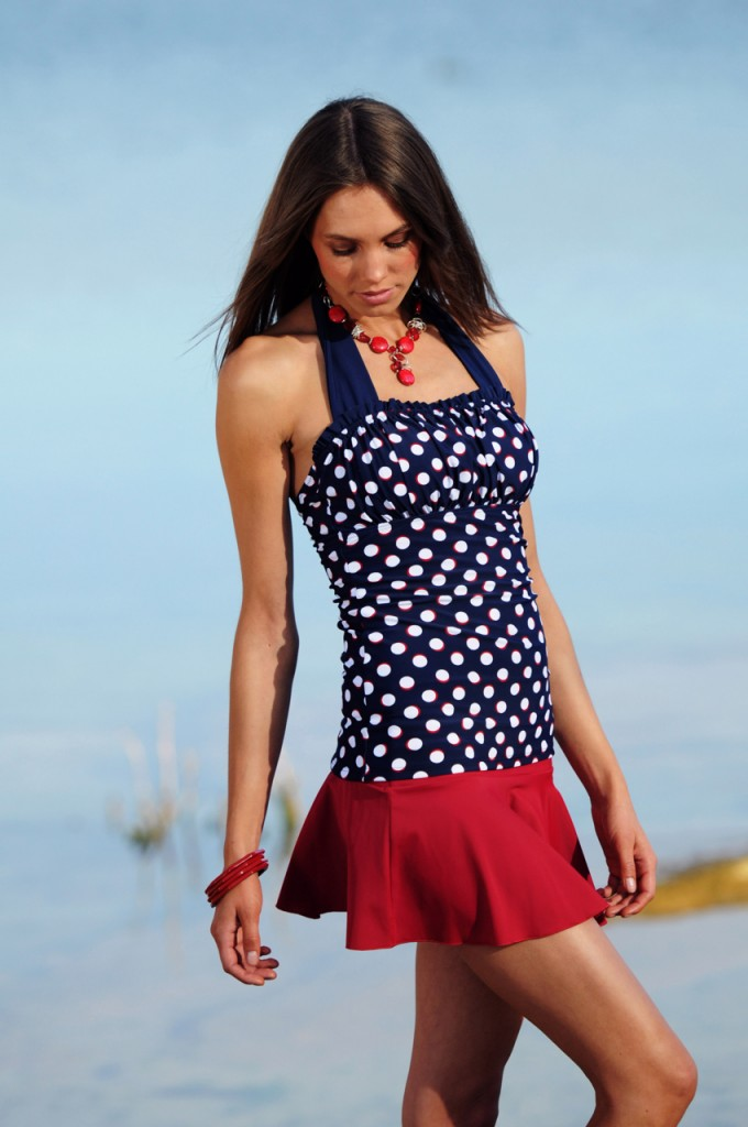 Ruched halter Nautical Blue Red Dots