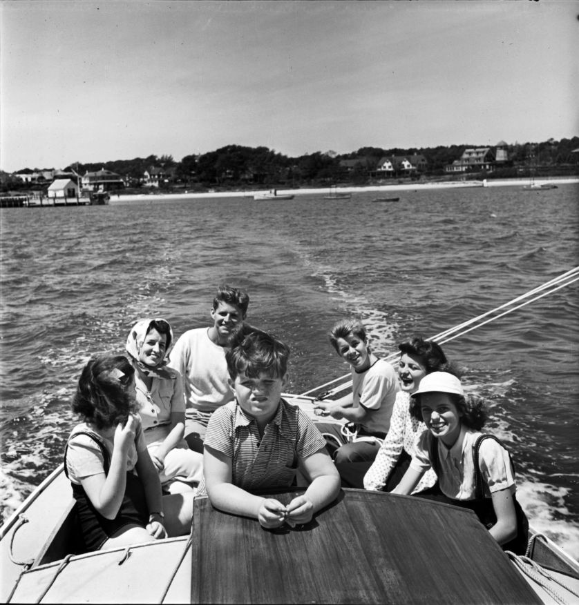 Photographer Alfred Eisenstaedt steadied himself on Victura's bow to capture eight-year-old Ted forward andfrom left, Jean, Rose, Joe, Bobby, Patricia and Eunice. From Victura, photo by Alfred Eisenstaedt/Time & Life Pictures/Getty Images, 1940.