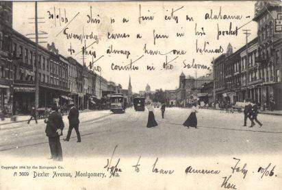 Postcard 1906 describing Montgomery city life - Source: digital.archives.alabama.gov