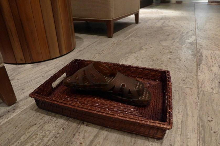 Primland spa sandals. ©Sherrie Wilkolaski