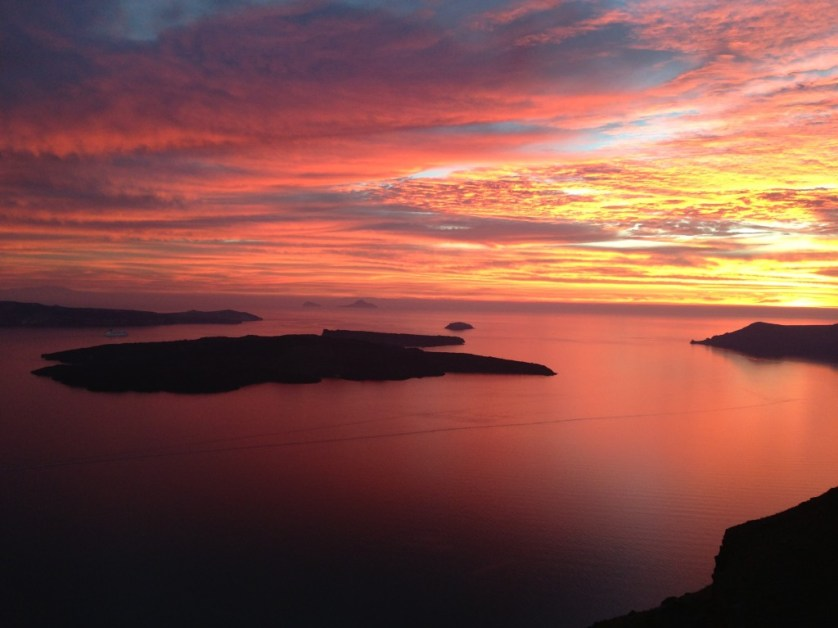 Sunset view from the Iconic Santorini. Sublime.