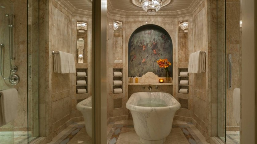 Single slab marble tub in  Lobanov Presidential Suite