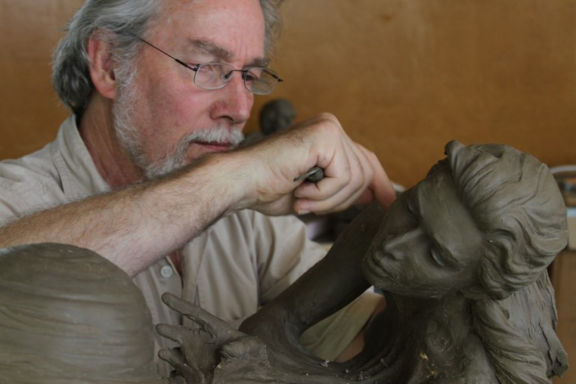 Martin Eichinger sculpting Gaia's Breath - www.cordair.com