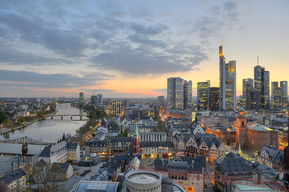 The Frankfurt Skyline at  sundown