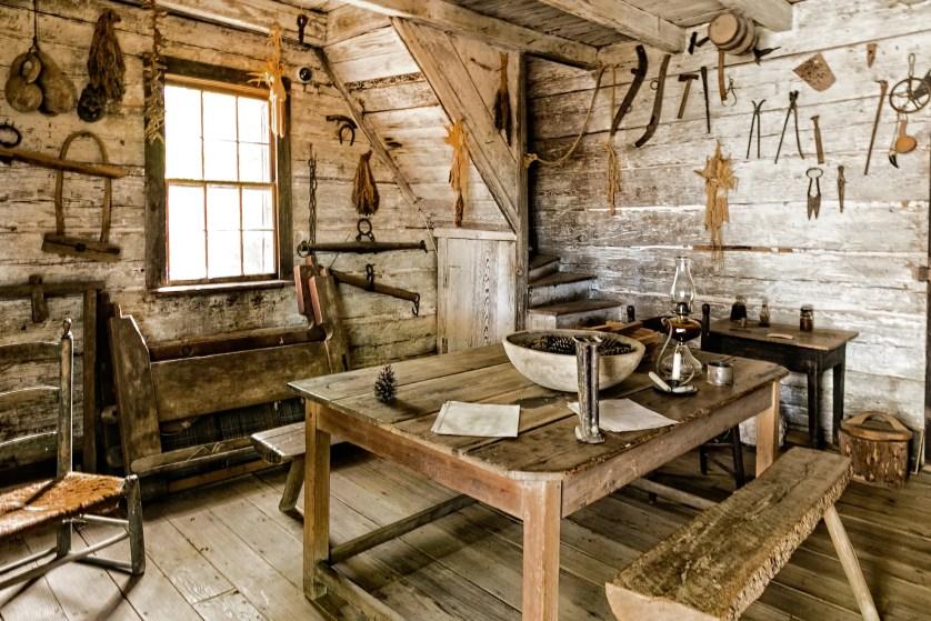Interior of the Log Cabin at Callaway Plantation.