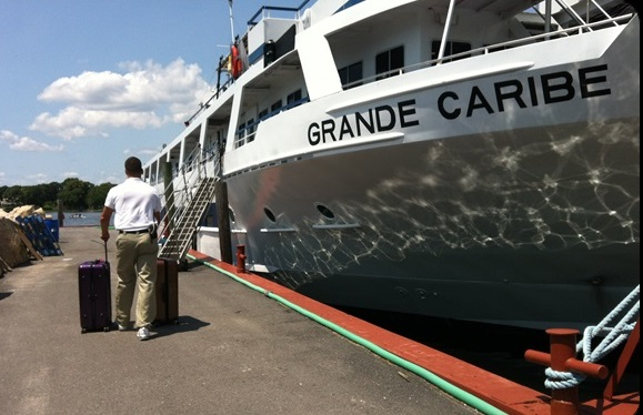Boarding the Grande Caribe.