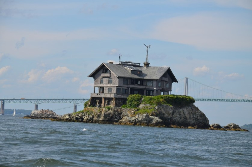 Island home and bridge in Newport.