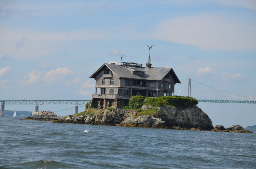 Island home and bridge in Newport.
