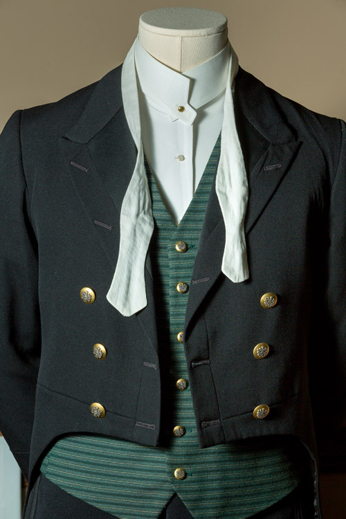 A footman's uniform made of wool and cotton (Photo courtesy of Exhibit Development Corp.)