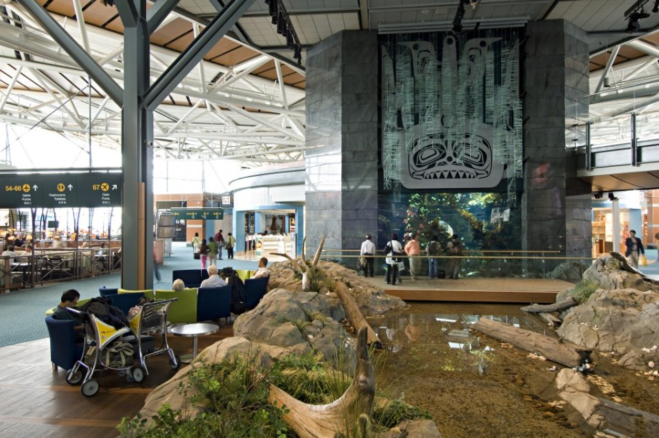 Aquarium and Creek at YVR. Photo by Larry Goldstein for the Vancouver Airport Authority