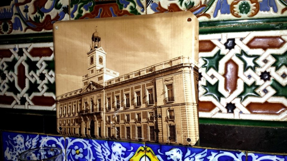 Tile depiction of Madrid on a Chueca wall at Taberna de Angel Sierra