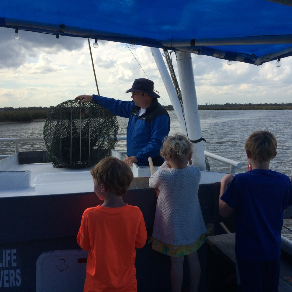 Kids checking out the net used on the Lady Jane.