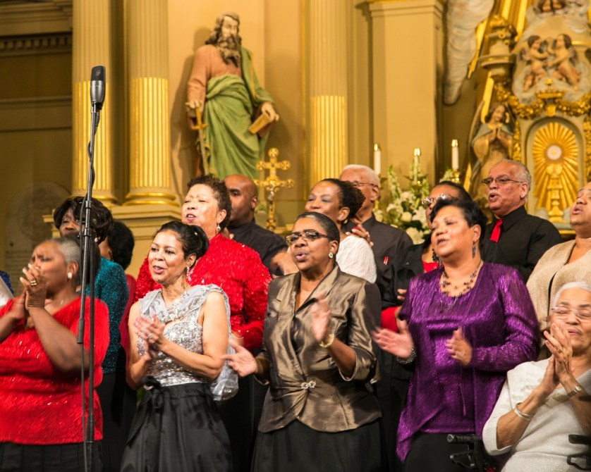 Gospel Choir performs in St. Louis Cathedral.