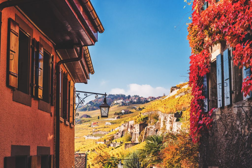 Montreux_Small streets of swiss medieval village Saint Saphorin, Lavaux vineyard_Photo by Anna Nahabed at Shutterstock