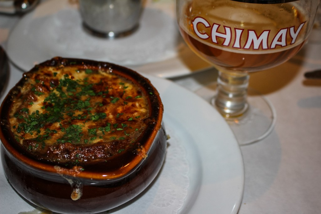 French Onion Soup and a Belgian Chimay Ale at the only French owned and operated Bistro Jaunty