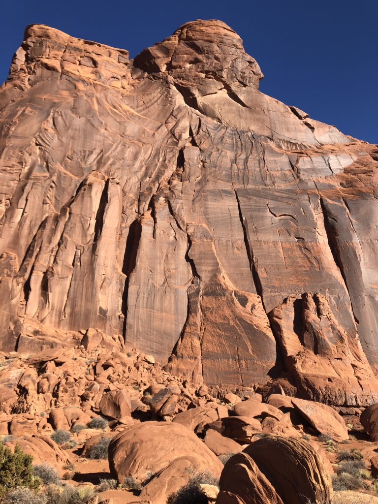Desert varnish streaks the rock walls