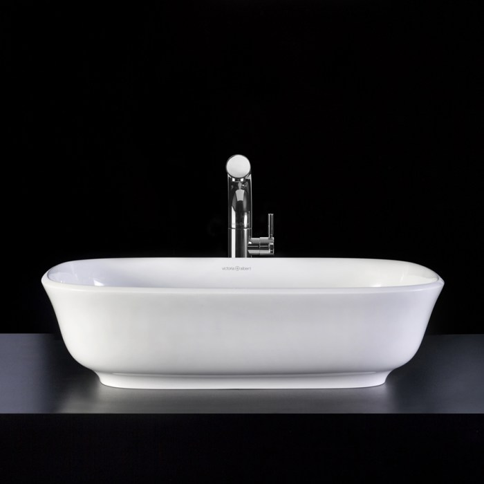Victoria + Albert Amiata 60 basin in volcanic limestone is distributed in Queensland by Luxe by Design, Brisbane.