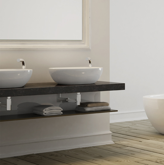 Victoria + Albert Barcelona 64 basin in volcanic limestone is distributed in Queensland by Luxe by Design, Brisbane.