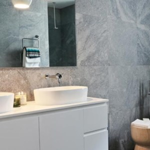 The Block 2012 Dan and Dani bathroom. Featuring the Victoria + Albert Ios bath and basin, distributed in Australia by Luxe by Design, Brisbane.
