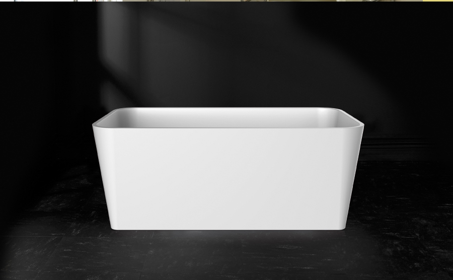 Victoria + Albert Edge bath in volcanic limestone is distributed in Quenesland by Luxe by Design, Brisbane.