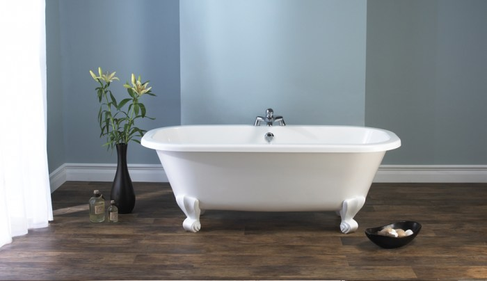 Victoria + Albert Richmond traditional bath in volcanic limestone is distributed in Quenesland by Luxe by Design, Australia.