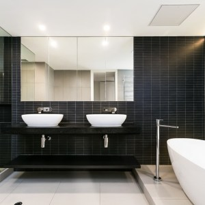 South Yarra Apartment renovation by Canny featuring VIctoria + Albert Barcelona bath and basins.