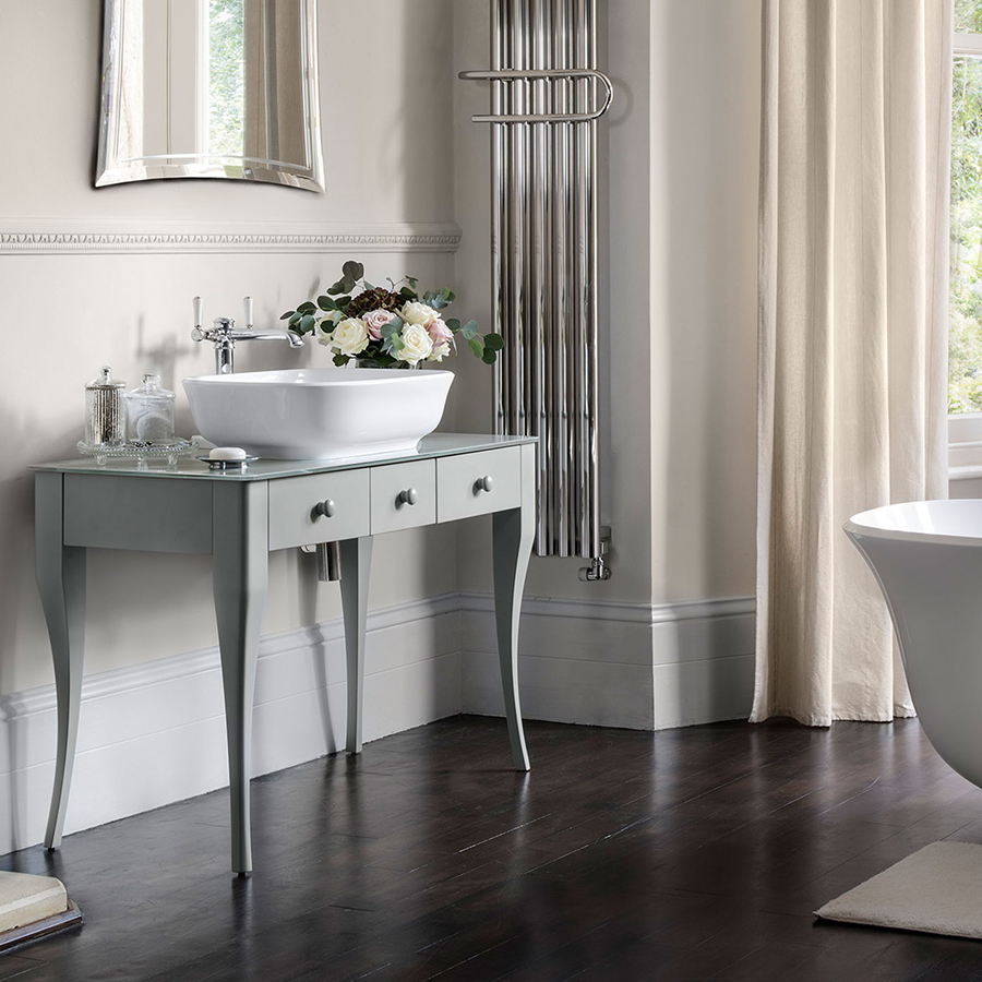 Victoria + Albert Bosa 112 Glass solid wood bathroom vanity table with glass top in light grey. Distributed in Australia by Luxe by Design, Brisbane.