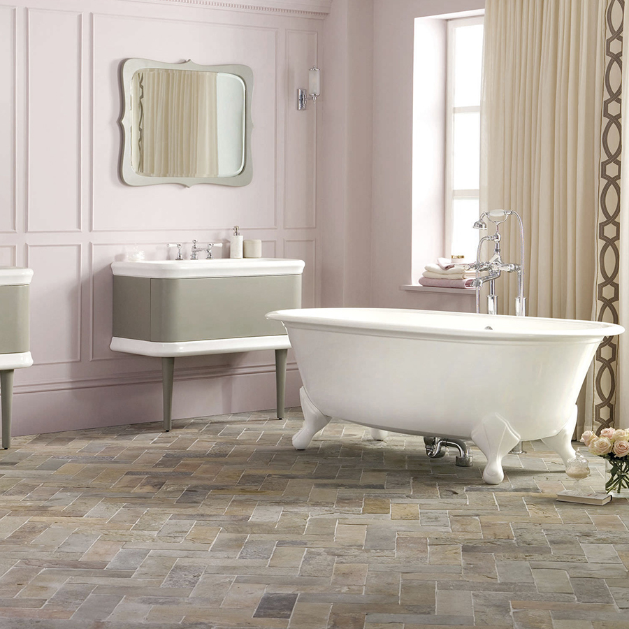 Victoria _ Albert Lario 100 solid wood bathroom vanity with integrated volcanic limestone basin top. Distributed in Australia by Luxe by Design, Brisbane.