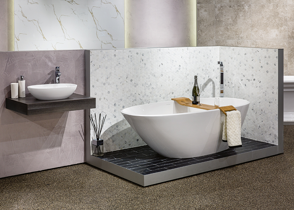 Victoria + Albert Gallery showroom display at Domayne Alexandria. Mozzano bath and Barcelona 48 basin with Oak Tombolo 8 bath caddy