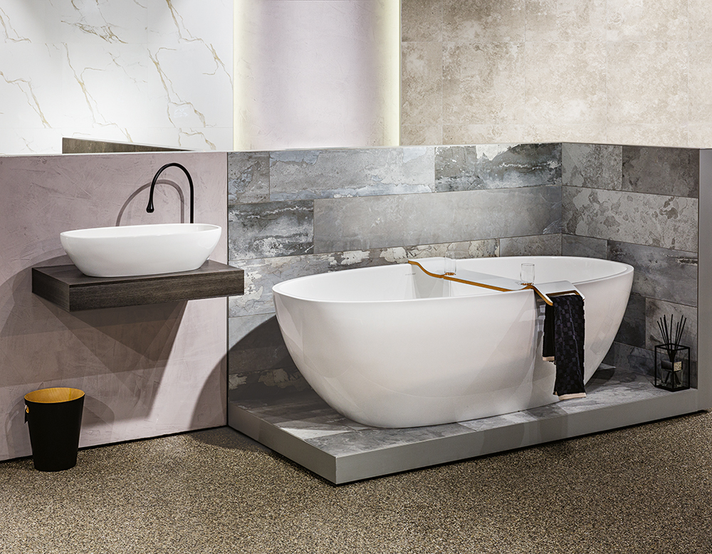 Victoria + Albert Gallery showroom display at Domayne Alexandria. Barcelona bath and Barcelona 64 basin with Tombolo 10 White bath caddy